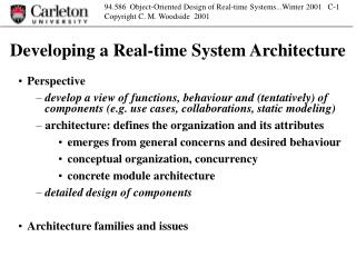 Developing a Real-time System Architecture