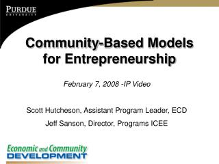 Community-Based Models for Entrepreneurship