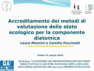 Accreditamento dei metodi di valutazione dello stato ecologico per la componente diatomica