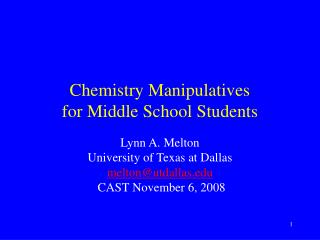 Chemistry Manipulatives for Middle School Students