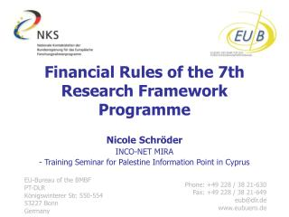 Financial Rules of the 7th Research Framework Programme