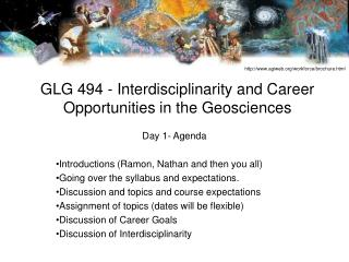 GLG 494 - Interdisciplinarity and Career Opportunities in the Geosciences