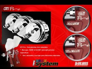 GTI Pro : Dos pistolas, dos cabezales.   Marcajes  BASE & CLEAR  para aplicaciones específicas