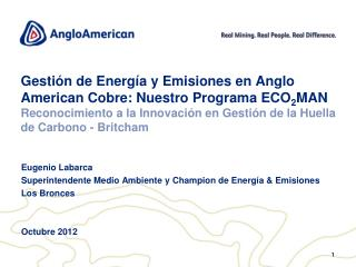 Eugenio Labarca Superintendente Medio Ambiente y  Champion  de Energía & Emisiones Los Bronces