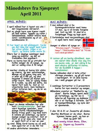 Månedsbrev fra Sjøsprøyt             April 2011