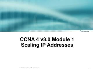 CCNA 4 v3.0 Module 1 Scaling IP Addresses