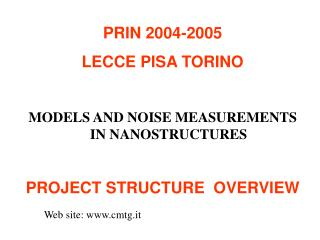PRIN 2004-2005 LECCE PISA TORINO MODELS AND NOISE MEASUREMENTS IN NANOSTRUCTURES