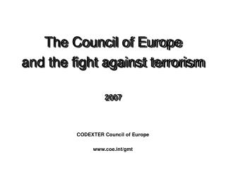 CODEXTER Council of Europe coet/gmt