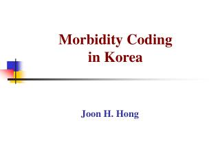 Morbidity Coding  in Korea