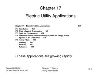 Chapter 17 Electric Utility Applications