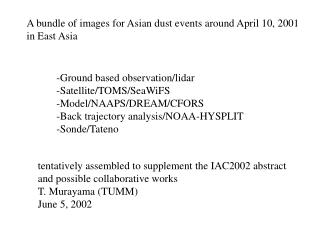 A bundle of images for Asian dust events around April 10, 2001 in East Asia