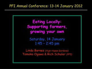 PFI Annual Conference: 13-14 January 2012