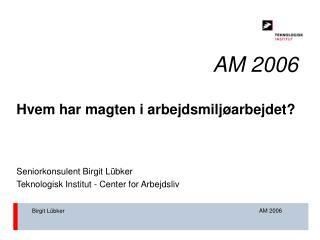 AM 2006 Hvem har magten i arbejdsmiljøarbejdet? Seniorkonsulent Birgit Lübker