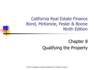 California Real Estate Finance Bond, McKenzie, Fesler & Boone Ninth Edition