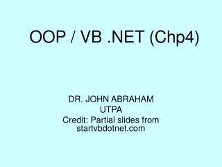 OOP / VB .NET (Chp4)