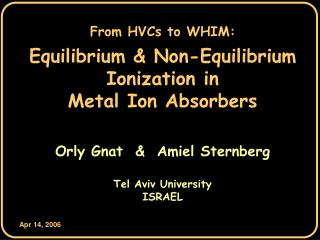 From HVCs to WHIM: Equilibrium & Non-Equilibrium Ionization in Metal Ion Absorbers
