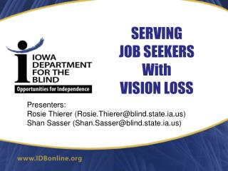 SERVING JOB SEEKERS  With VISION LOSS