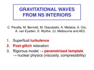 GRAVITATIONAL WAVES FROM NS INTERIORS