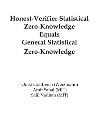 Honest-Verifier Statistical Zero-Knowledge  Equals General Statistical  Zero-Knowledge