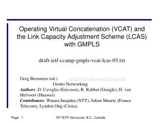 Operating Virtual Concatenation (VCAT) and the Link Capacity Adjustment Scheme (LCAS) with GMPLS