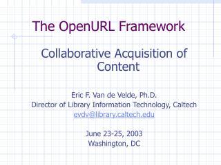 The OpenURL Framework