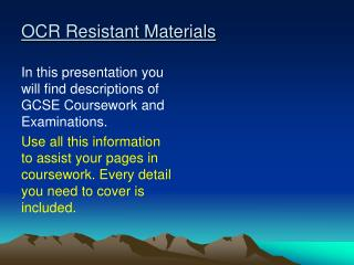 OCR Resistant Materials