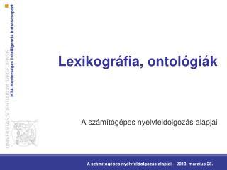 Lexikográfia, ontológiák