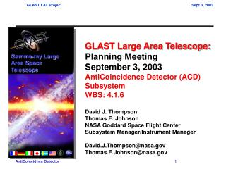 GLAST Large Area Telescope: Planning Meeting September 3, 2003