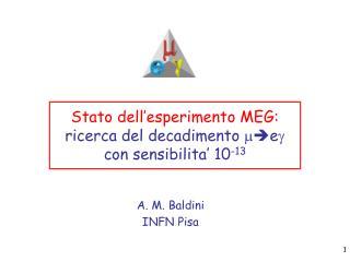 Stato dell'esperimento MEG:  ricerca del decadimento  m e g  con sensibilita' 10 -13