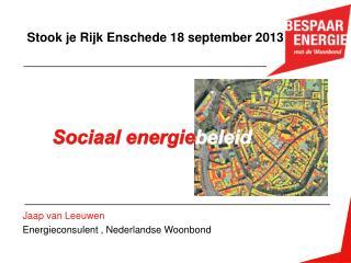 Jaap van Leeuwen Energieconsulent , Nederlandse Woonbond