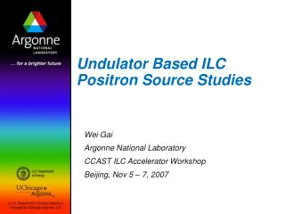 Undulator Based ILC Positron Source Studies