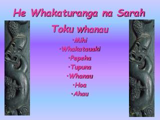 He Whakaturanga na Sarah