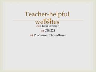 Teacher-helpful websites