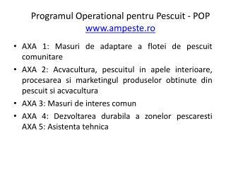 Programul  Operational  pentru Pescuit  - POP ampeste.ro