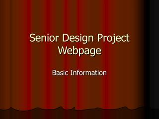 Senior Design Project Webpage