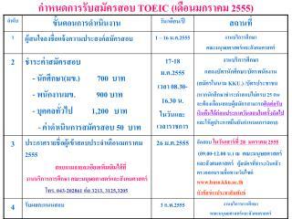 กำหนดการรับสมัครสอบ  TOEIC  (เดือนมกราคม 2555)
