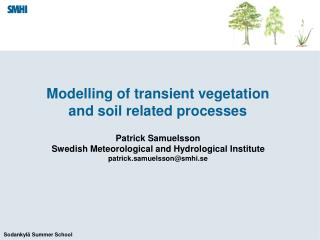 Modelling of transient vegetation and soil related processes