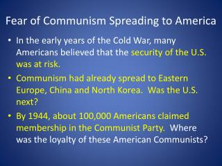 Fear of Communism Spreading to America
