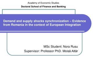MSc Student: Nora Rusu Supervisor: Professor PhD. Mois ă Altăr