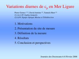 Variations diurnes de c p  en Mer Ligure