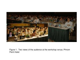 Figure 1.  Two views of the audience at the workshop venue, Phnom Penh Hotel