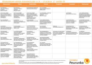 PEURUNGAN VAPAA-AIKAOHJELMA 11.8. – 17.8.2014  //  VIIKKO 33