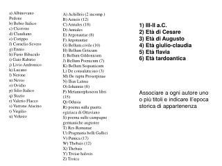 a) Albinovano Pedone  b) Bebio Italico c) Cicerone d) Claudiano e) Corippo f) Cornelio Severo