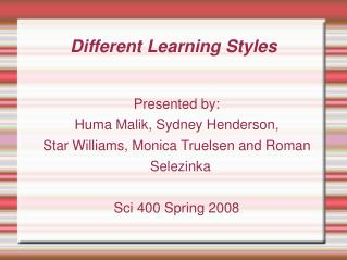 Different Learning Styles