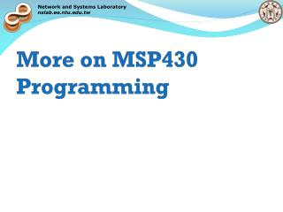More on MSP430 Programming