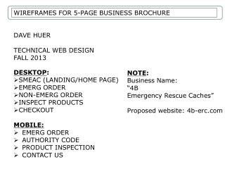 WIREFRAMES FOR 5-PAGE BUSINESS BROCHURE