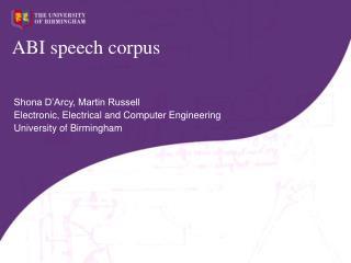 ABI speech corpus