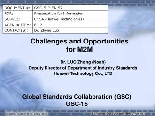Challenges and Opportunities  for M2M