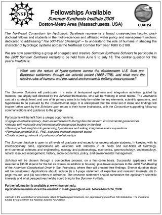 Fellowships Available Summer Synthesis Institute 2008 Boston-Metro Area (Massachusetts, USA)