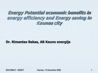 Energy Potential economic benefits in energy efficiency and Energy saving  in  Kaunas  city
